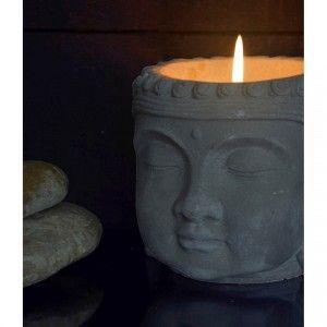 Vela Citronela Cabeza de Buda, Velas Anti-mosquitos. Decoración Budista Cerámica 13x13 cm