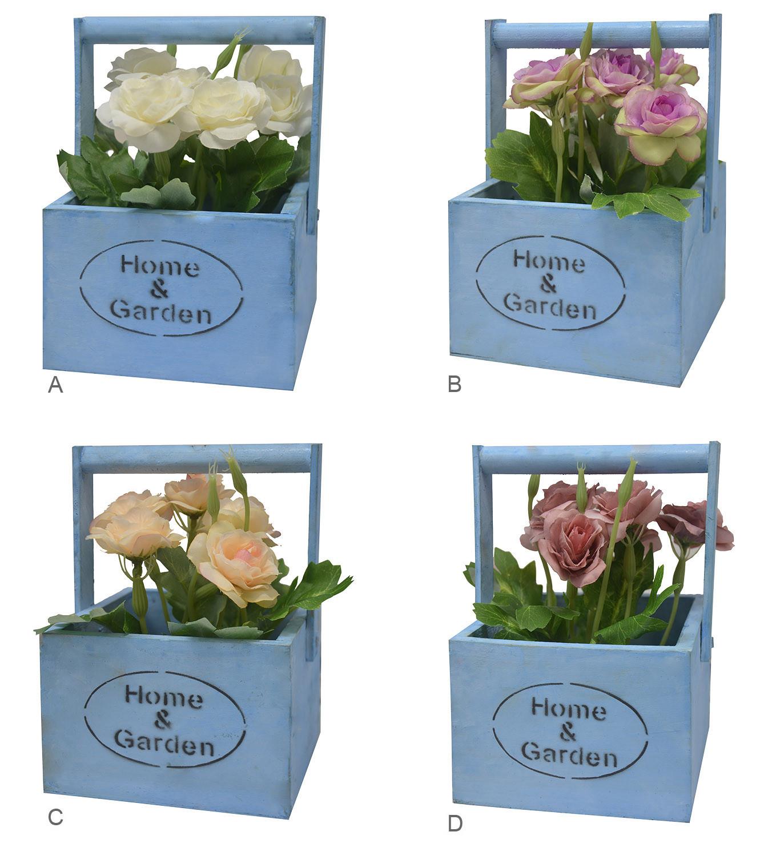 "Macetero Madera de Sobremesa Azul, Flores Artificiales Vintage ""Home & Garden"""