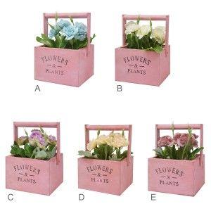 "Macetero Madera de Mesa Rosa, Flores Artificiales Vintage ""Flowers & Plants"""
