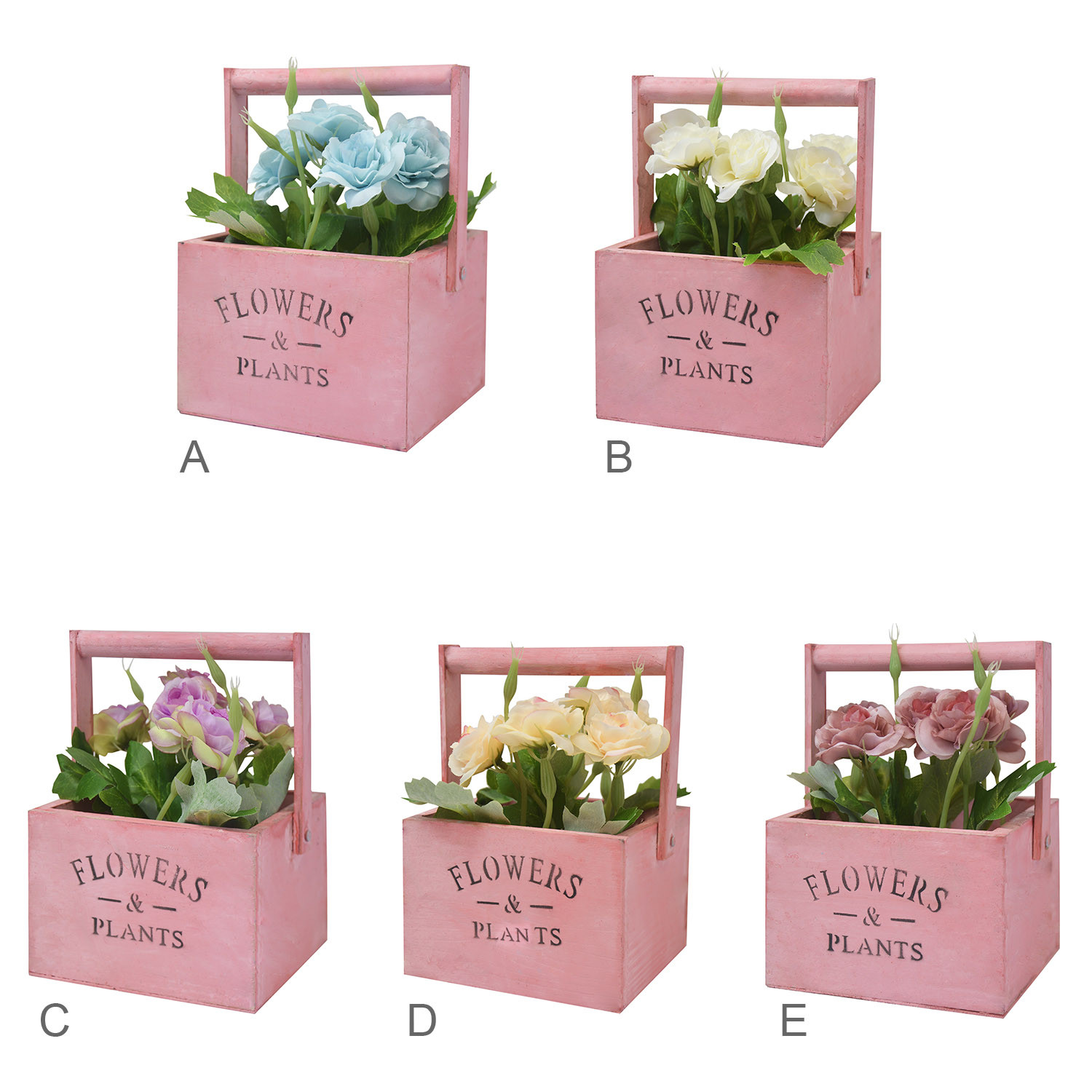 """Planter Wooden Table Pink, Artificial Flowers Vintage """"Flowers & Plants"""""""