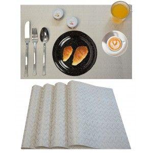 Manteles Individuales x4, Lavable y Aislante Salvamantel Mesa Blanco para Comedor 30x45 cm