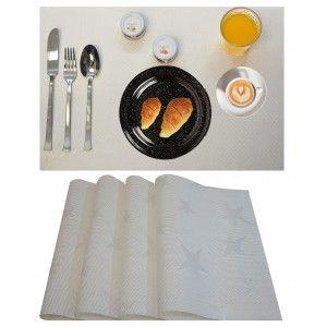 Salvamantel individual, lavable, en poliester/ PVC. Color blanco. 30x45 cm.
