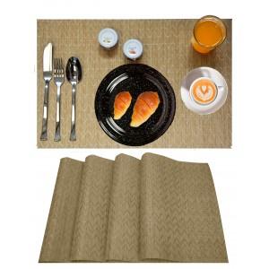 Manteles Individuales x4, Lavable y Aislante Salvamantel Mesa Beige para Comedor 30x45 cm