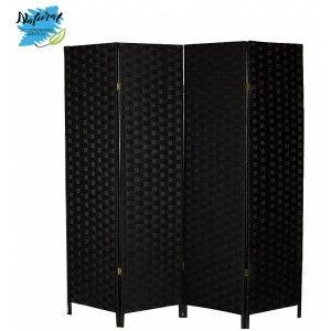Biombo separador de Ambientes Negro de Bambú Natural para Dormitorio/Salón 180x135 cm