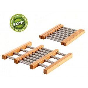 Salva-mantel Plegable de Acero Inox y Bambú Natural, Soporte Ollas Calientes, Cazuelas 21x22x2 cm
