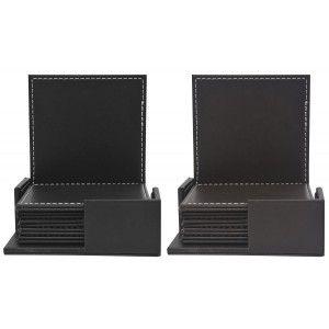 Posavasos cuadrado de polipiel con soporte en set de seis unidades