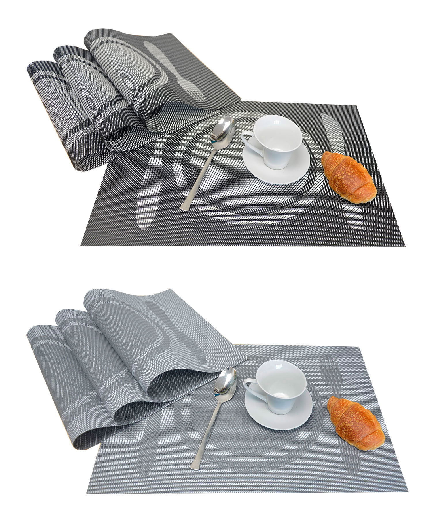 Salvamanteles Individuales Reversibles X4, Lavable y Aislante Salvamantel Gris o Negro  para Comedor 30X45cm