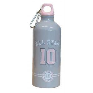 Botella de agua All Star de Aluminio 600 ML, Gris y Rosa 20,5X7X20,5cm