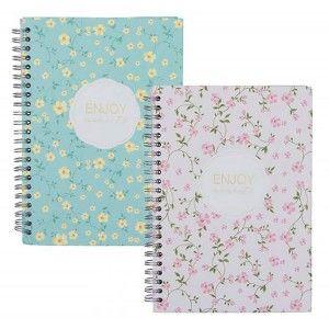 Cuaderno de Espiral Floral A5 cuadricula, 2 Colores diferentes con doble espiral.