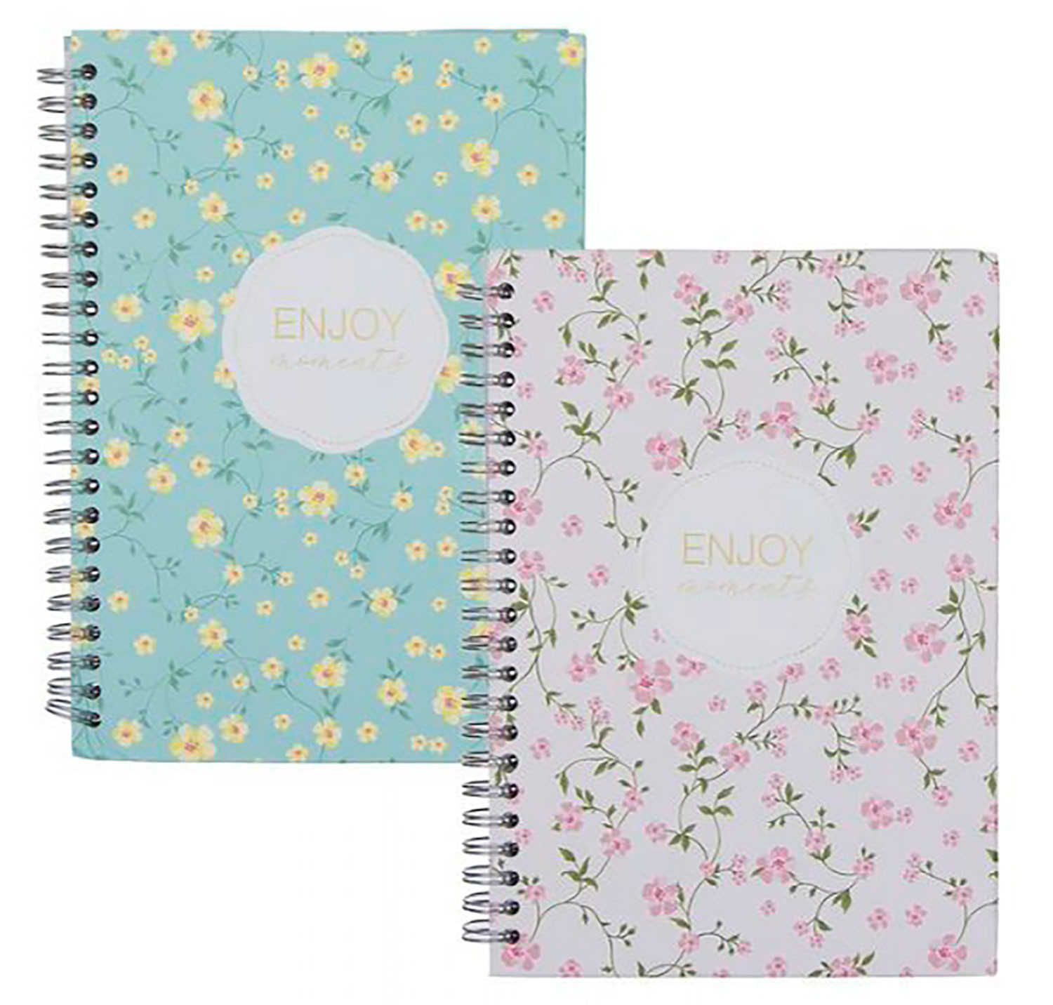 Spiral notebook Floral A5 grid, 2 different Colors with a double spiral.