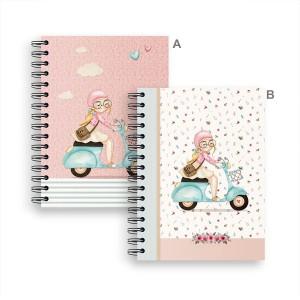 Cuaderno de Espiral Natalie A5 Cuadricula, 2 Diseños diferentes.