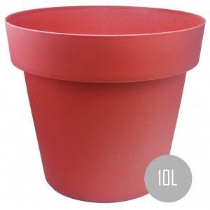 Maceteros Int/Ext. Grandes de PVC, Rojo 10L, Hidro-riego,30x30x23,5cm