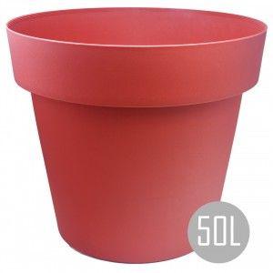 Maceteros Int/Ext. Grandes, Rojo 50L, Hidro-riego y Ruedas, 50x50x41cm