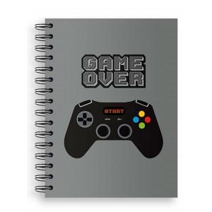 Cuaderno de Espiral Gamer A5 Cuadricula, color Gris oscuro.