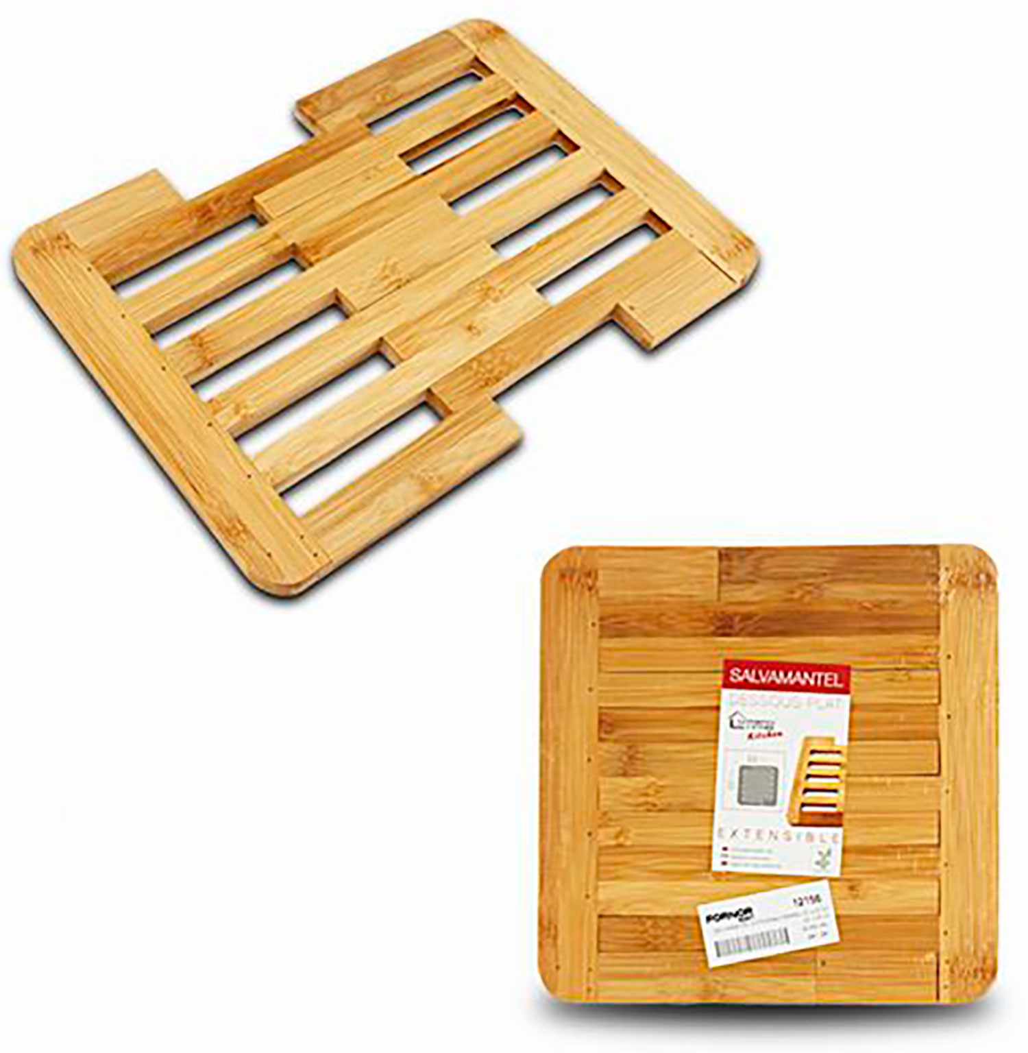 Salva mantel extensible de bambú Natural, Diseño original 22X22cm