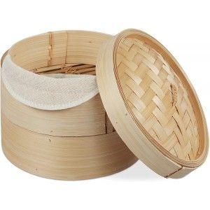 Vaporera de Bambú para cocer todo tipo de alimentos al vapor. 25,4XH 16cm