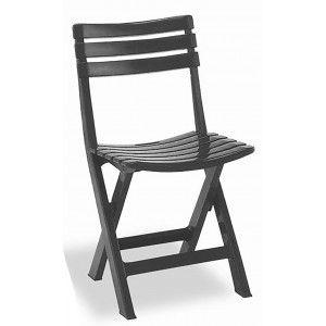 Silla plegable Birki Antracita de Resina, Color Negro 44X41X78cm