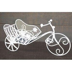 Bicicleta Macetero Blanco Metal, Decoración Jardín Exterior
