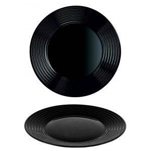 Plato Llano Ø23,5 cm Negro en set de 4, Vajilla Resistente y Elegante.