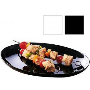 Plato para Carne, Vajilla Resistente y Elegante en Negro o Blanco 30x26 cm
