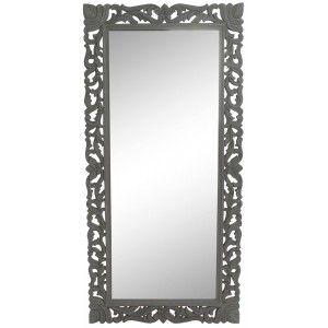 Espejo Pared de Madera Tallada Vintage, Color Gris, Espejos Originales y Vintage Decorativos. Dormitorio/Salón 120x2,5x60cm
