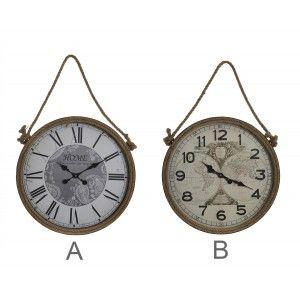 Reloj Pared Circular, de Metal y cuerda de Sisal, Decoración Vintage, Diseño Mapamundi, Reloj Decorativo Análogico, 60x7x94cm
