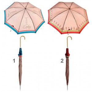 Paraguas Largo de poliester y Acero inoxidable con frase divertida y estilo original.