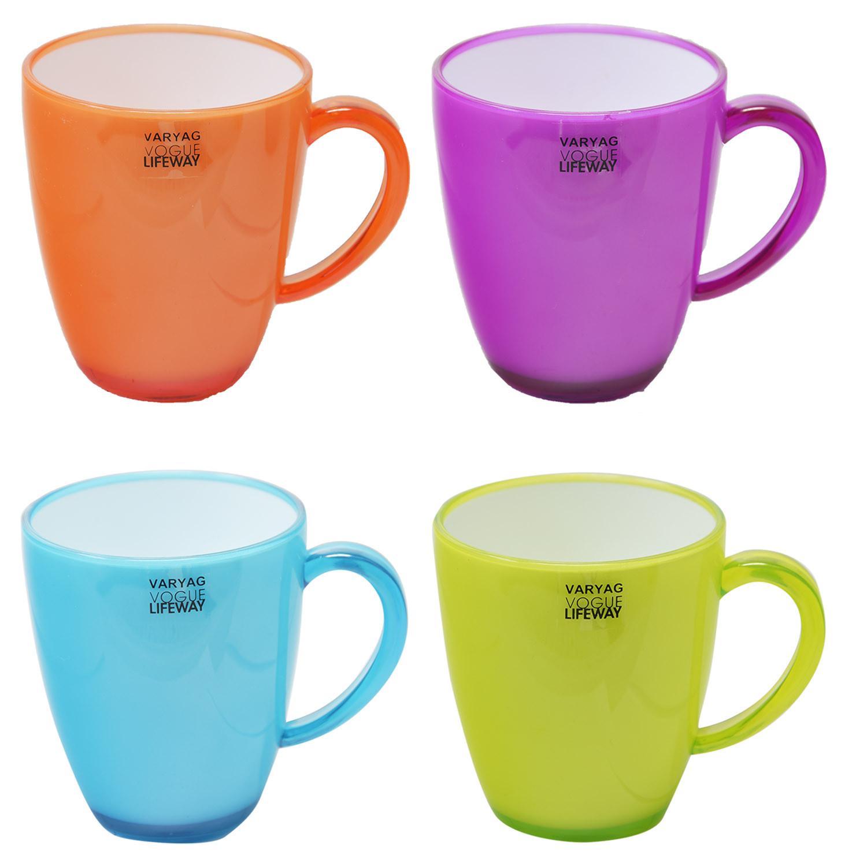 Tazas Plástico Duro Reutilizable Colores Opalinos, Set 4 Vasos ALTA CALIDAD para Fiestas, Acampada, Picnic, etc. A elegir 35cl.