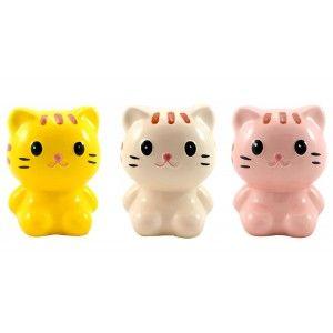 Hucha con forma de gatito de cerámica.