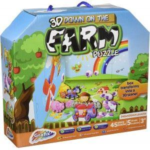 Puzzle 3D Farm con maletín para Niños, 45 piezas, Juegos Infantiles.