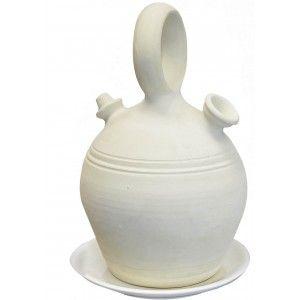 Botijo de Barro Tradicional Asa Redonda, 100% Hecho a mano 3,25 Litros. Eco|Plato Incluido