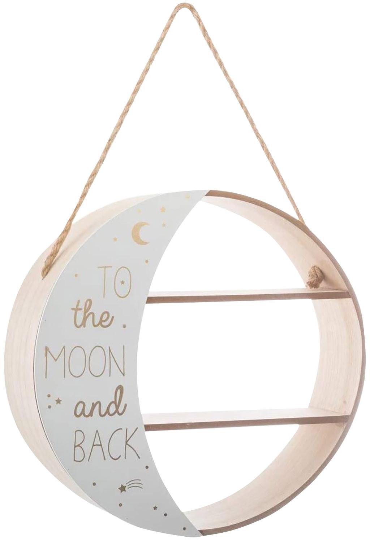 Estantería Infantil Pared, Estante Lunar Colgante Blanco y Dorado, Madera, Bohemia, Dos Baldas, Almacenaje Infantil 38x12x38cm.