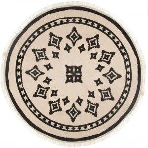 Alfombra Redonda con borlas para Salón, Dormitorio. Diseño Étnico ø90 cm