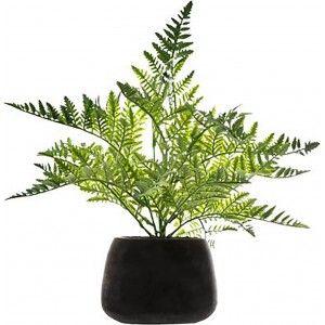 Planta Artificial con Maceta Negra Cemento, Helecho Hierba Decoración de Interior.
