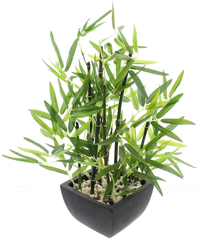 Planta Bambu Artificial con Maceta Negra Cemento, Bambú con Piedras, Decoración de Interior.