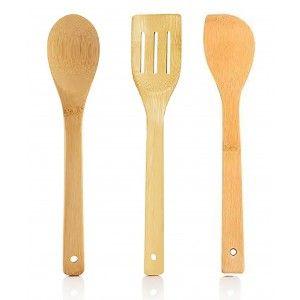 Utensilios de Cocina Madera Bambú, set 3, Cucharas y Espátula para Servir, Free bpa.