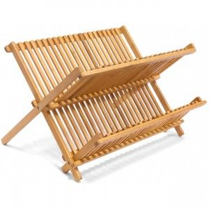 Escurridor Platos Plegable de Bambú 2 Niveles, Escurridor Fregadero para Vasos de Madera 42x24,5x33 cm