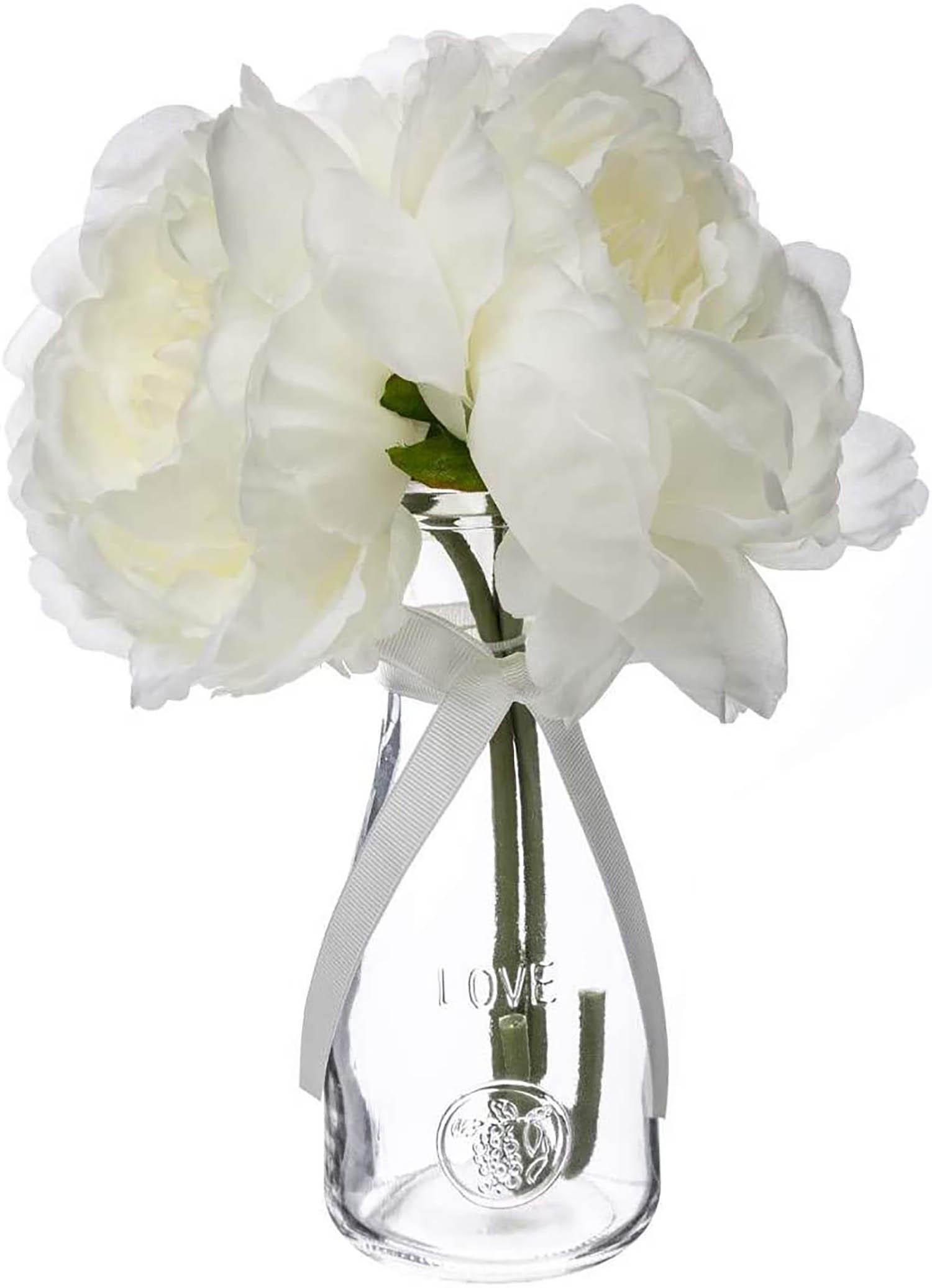 Jarrón con Flores Blancas Artificiales para Decoración, Centros de Mesa 25 cm