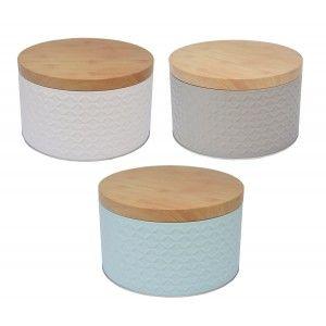 Caja Galletas Metálica original con relieve, tres colores diferentes 20X12X20cm