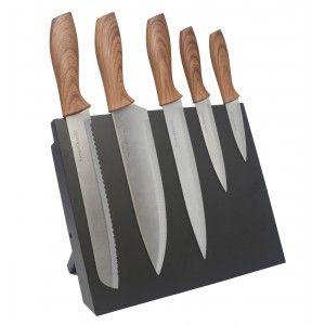 Cuchillos Cocina de Acero, Bloque Magnético Negro, Set de 6 Piezas.