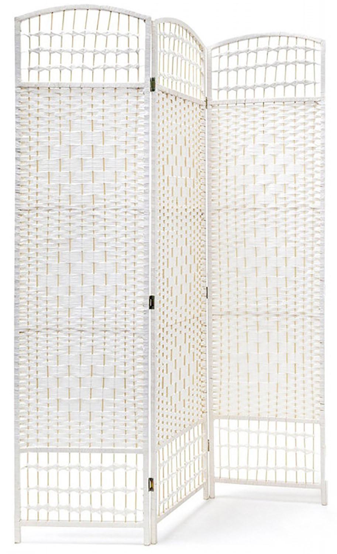 Biombo Blanco de Bambú Natural para Salón/Dormitorio, Diseño Funcional