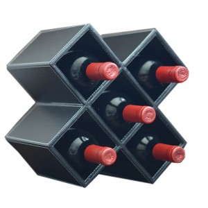 Home and more - wine Rack with black synthetic leather for 5 bottles. Geometric design modern.
