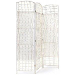Biombo Blanco Country Bambú Natural 170 cm, Biombo Separador de Ambientes/ Vestidor.3 Paneles 170x120cm