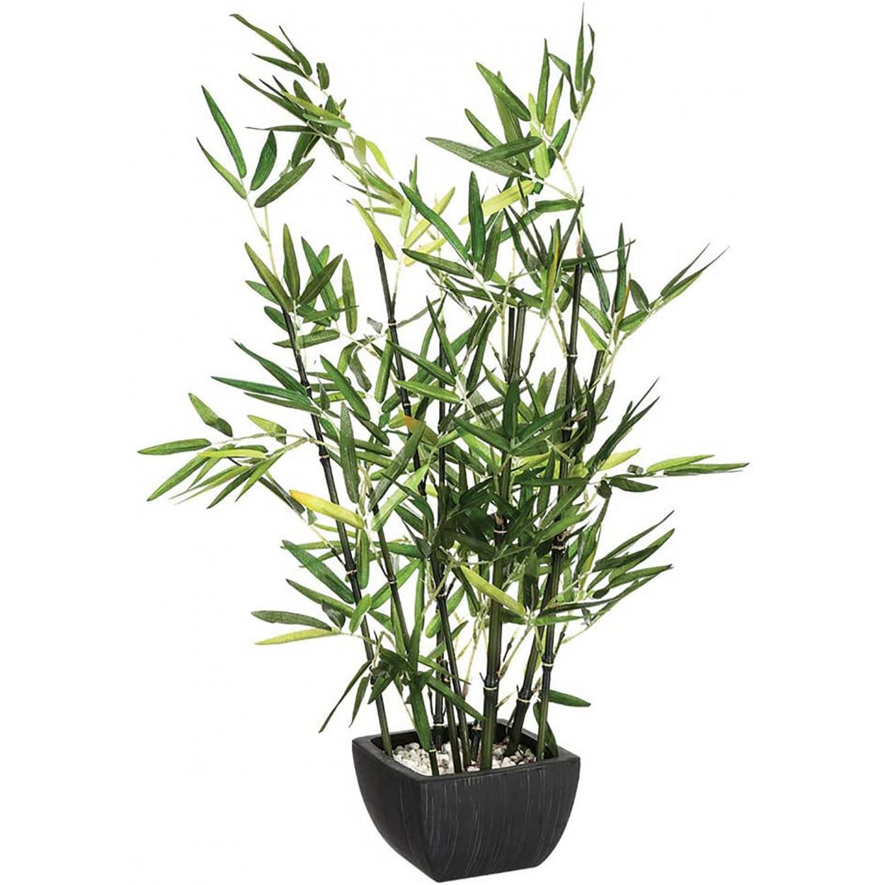 Planta Bambú Artificial, Maceta Negra,Decoración interior Realista, 3 Modelos diferentes