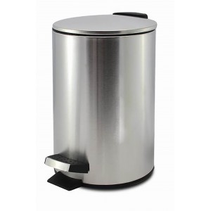 Trash can Metal Silver, Trash can for office, bathroom with a Lid and foot Pedal. Capacity of 3 Litres. 17x24,5cm - Home and