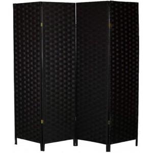 Biombo Separador Negro, Papel Trenzado, para Salón. Bastidor de madera 180X180cm