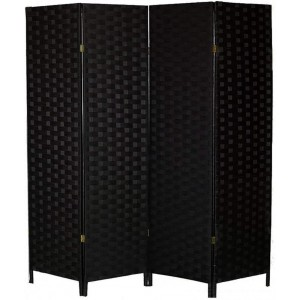 Biombo Separador de Ambientes Madera, Color Negro, Papel Trenzado, para Salón. Bastidor de madera 180X180cm