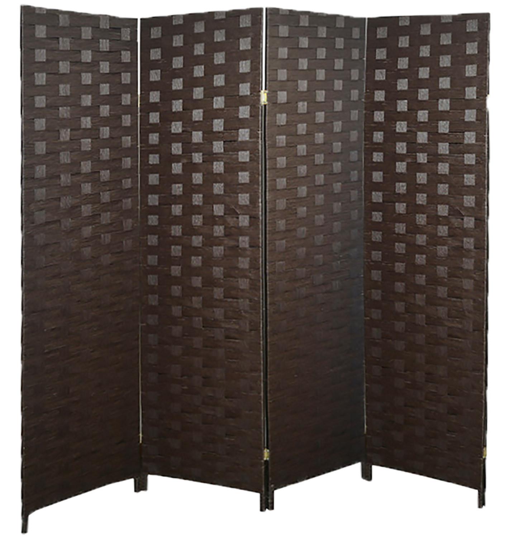Biombo Separador de Ambientes Plegable, Marrón Oscuro, Papel Trenzado para Salón. 4 Paneles, Bastidor de Madera. 180x180cm