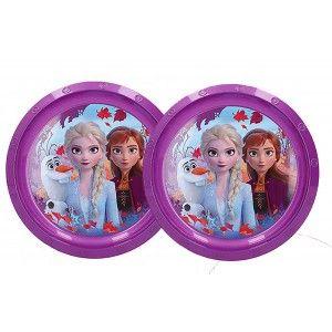 Plato Infantil de Plástico Duro SET 2, Reutilizable para Niños ø21 cm. Platos de Frozen II, Vajilla Disney Morada