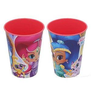 Vaso Infantil Plástico Duro, Set de 2, Reutilizable, para Niños, de Color Rosa, 260ML. Modelo Shimmer & Shine.